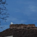 Castle Rock, CO with the Christmas Star.