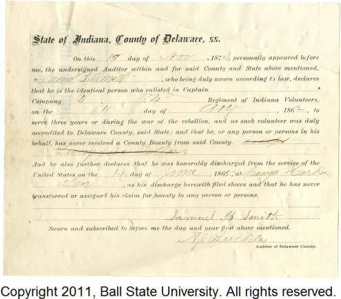 Application for discharged soldiers' county bounty - Affidavit of Samuel B. Smith, for Samuel B. Smith [FRONT]