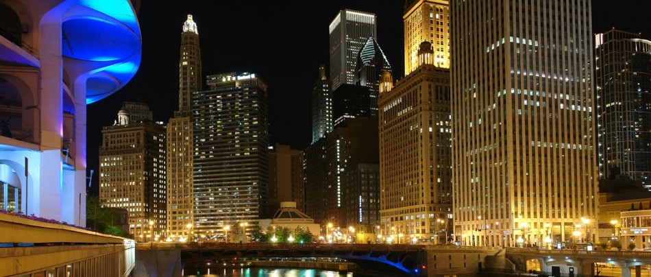 Looking east down the Chicago River The Magnificent Mile is to the left, the Executive is on the right.